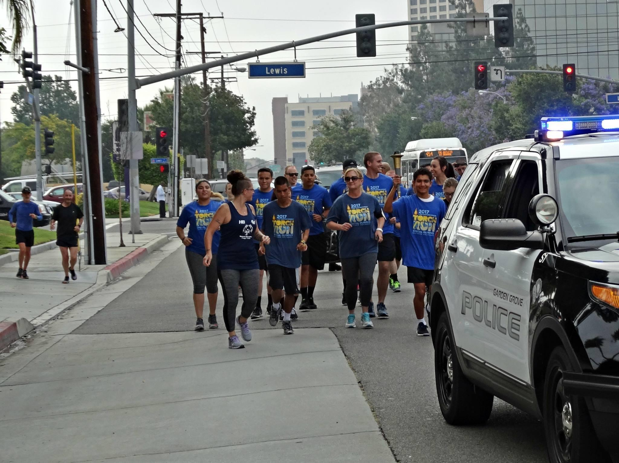 torch run for special olympics city of garden grove