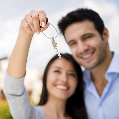 Staged photo of a first time home buyer