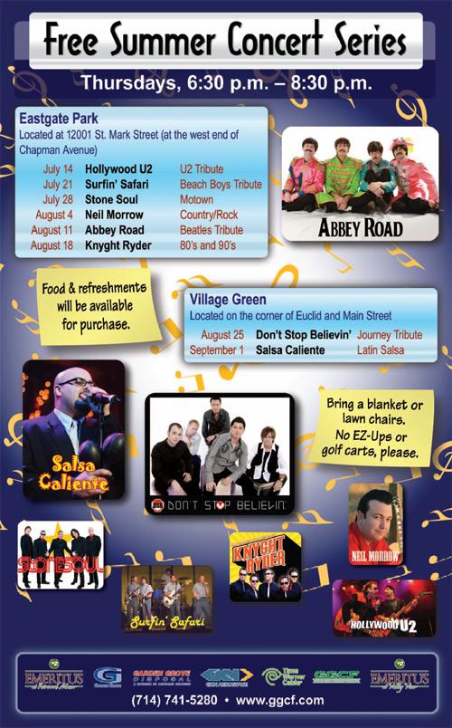 2011 Summer Concerts Lineup City Of Garden Grove