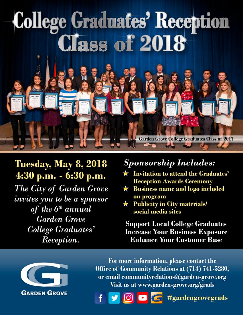 Garden Grove College Graduates' Reception flyer