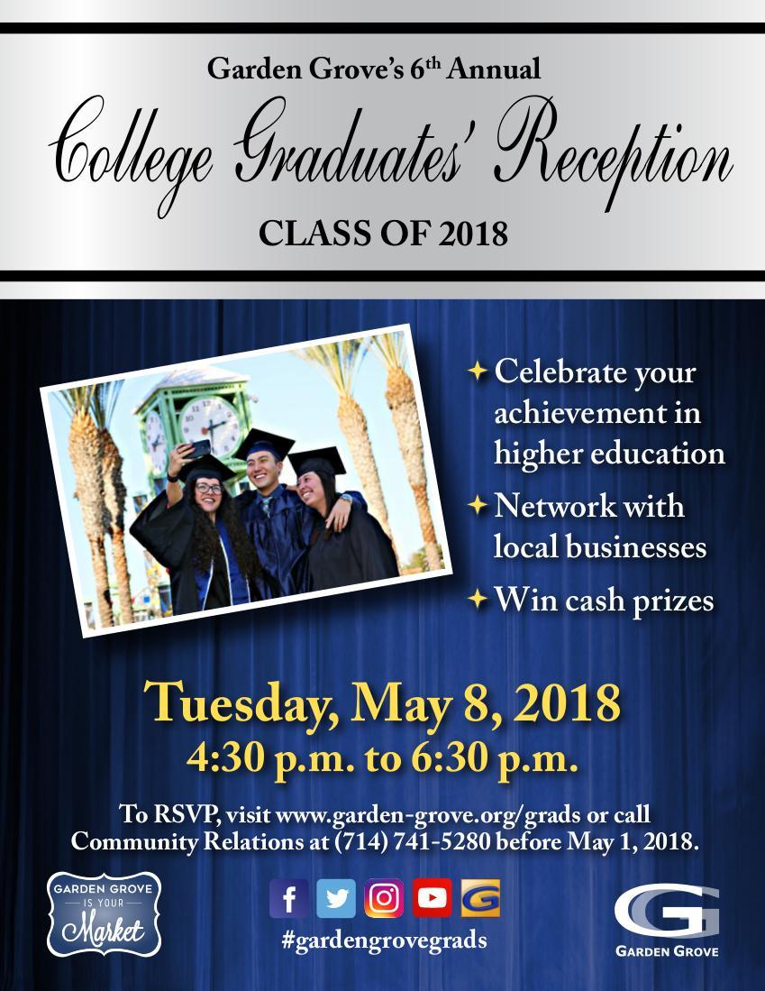 Photo of the 2018 Garden Grove College Graduates' Reception flyer.