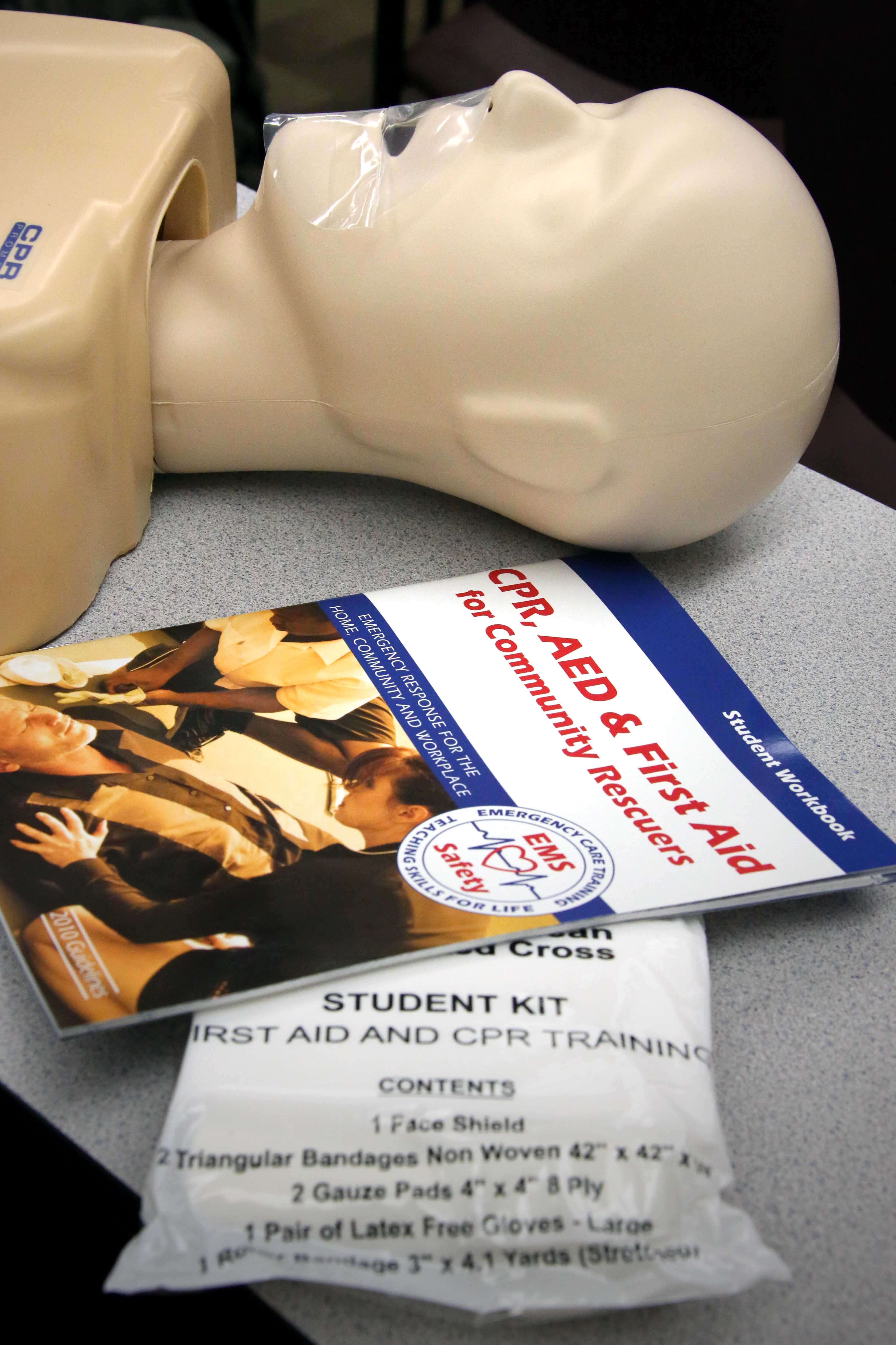 Photo of materials used during C.E.R.T.'s CPR, First Aid, and Automated External Defibrillator certification class