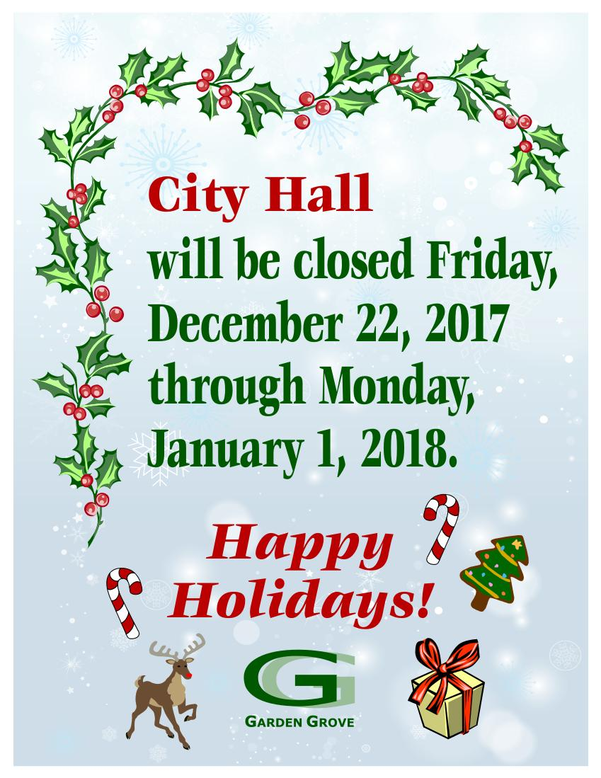 City Hall Closed, No Street Sweeping Christmas and New Year\'s Day ...