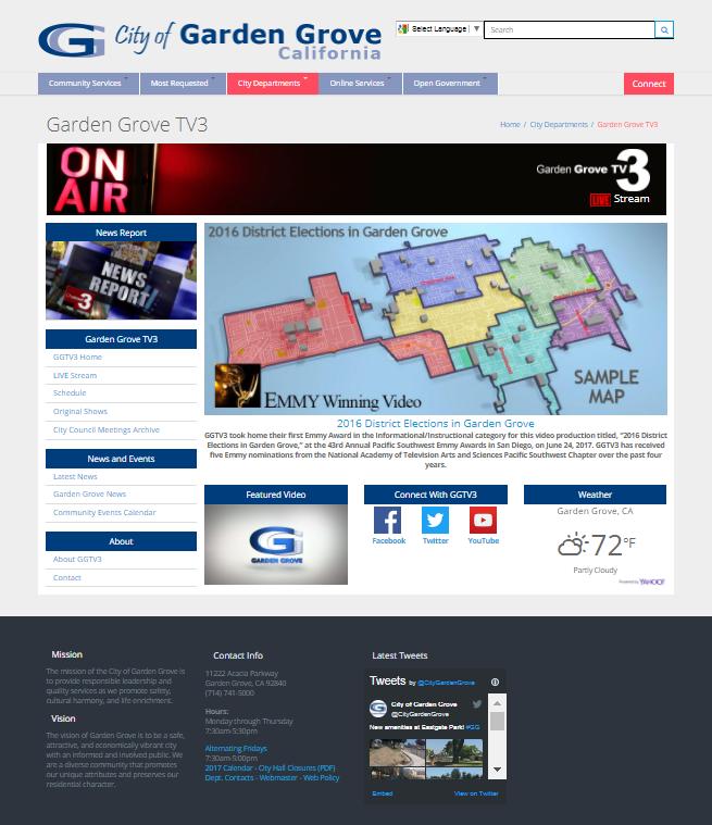Screenshot of the Garden Grove TV3 webpage