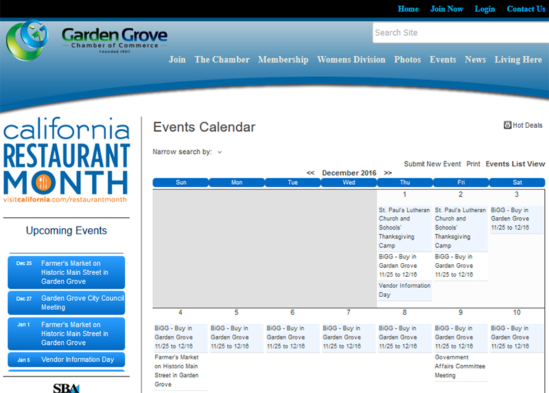 Garden Grove Chamber of Commerce Calendar