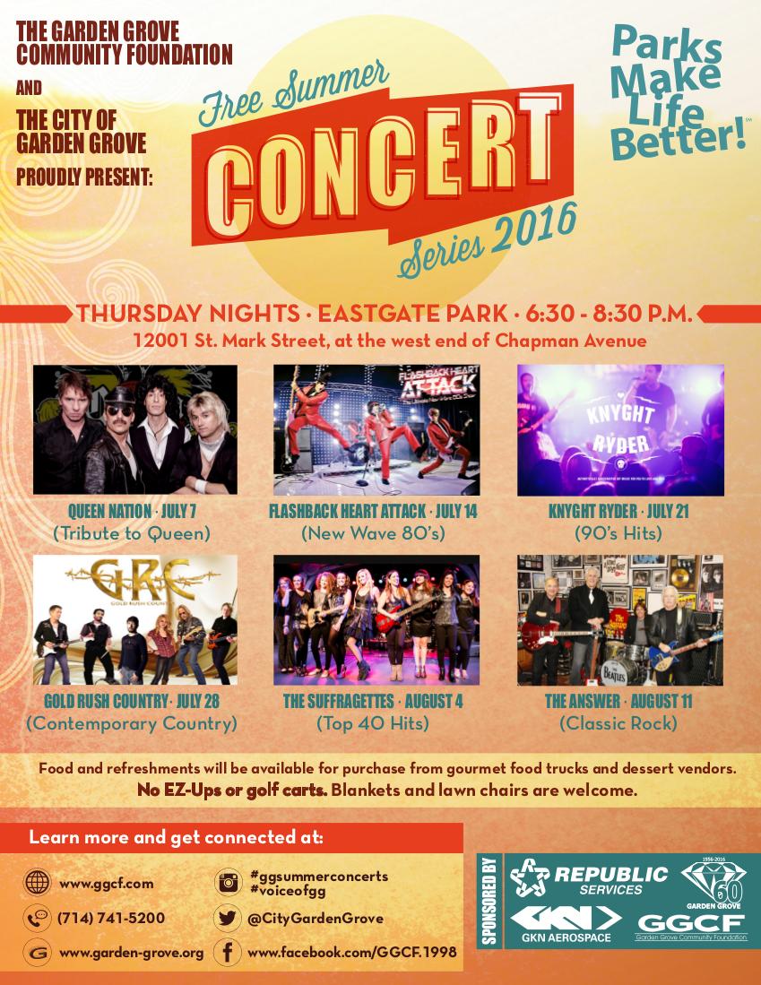 2016 free Summer Concert Series flyer
