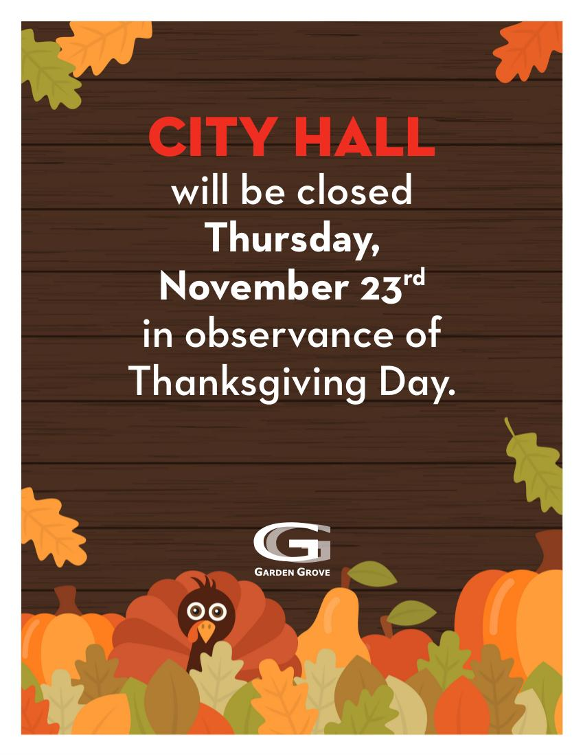 Thanksgiving Closure flyer