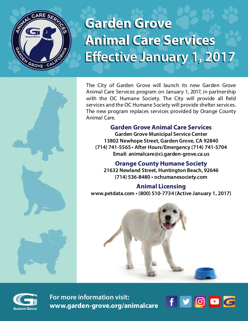 Photo of the Garden Grove Animal Care Services flyer