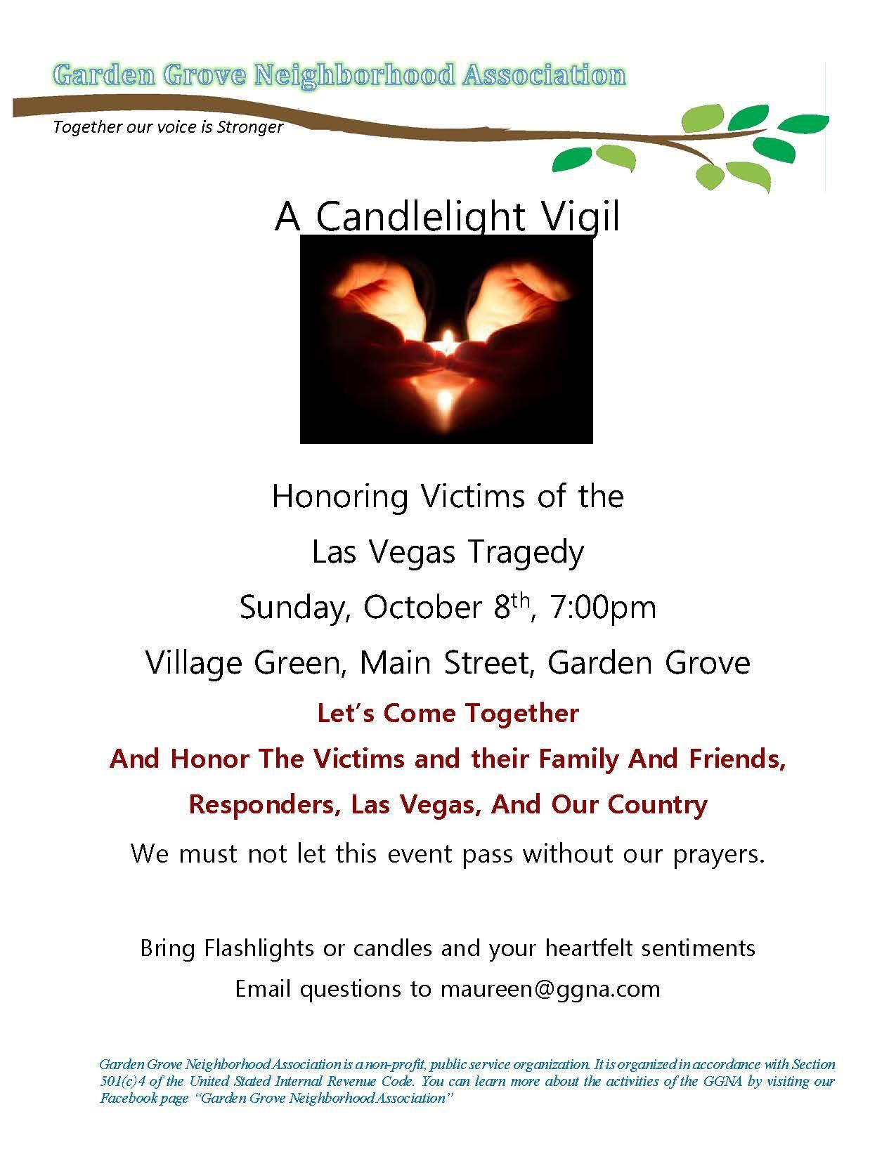 Candlelight vigil flyer
