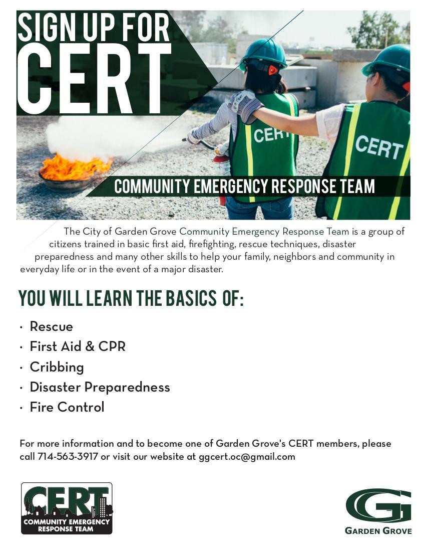 Photo of CERT Academy 2018 Flyer.