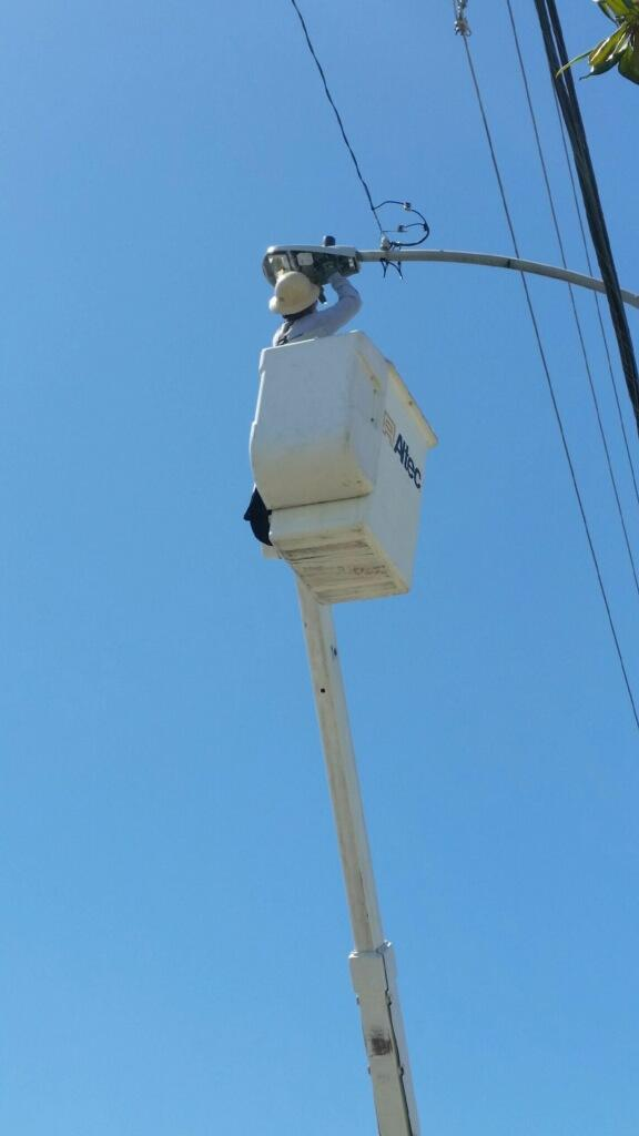 Photo of Edison Upgrading Street Lights.