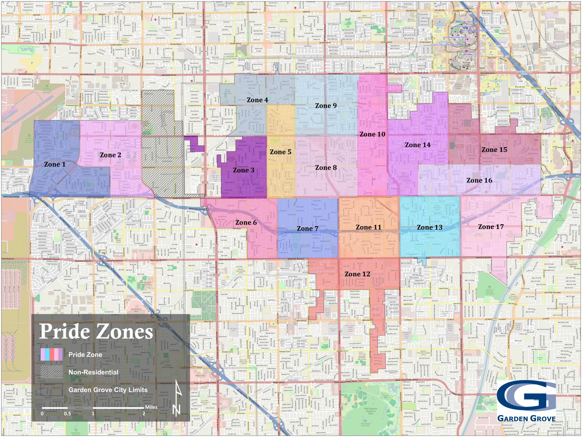 Garden Grove Pride Zone Map, 2015