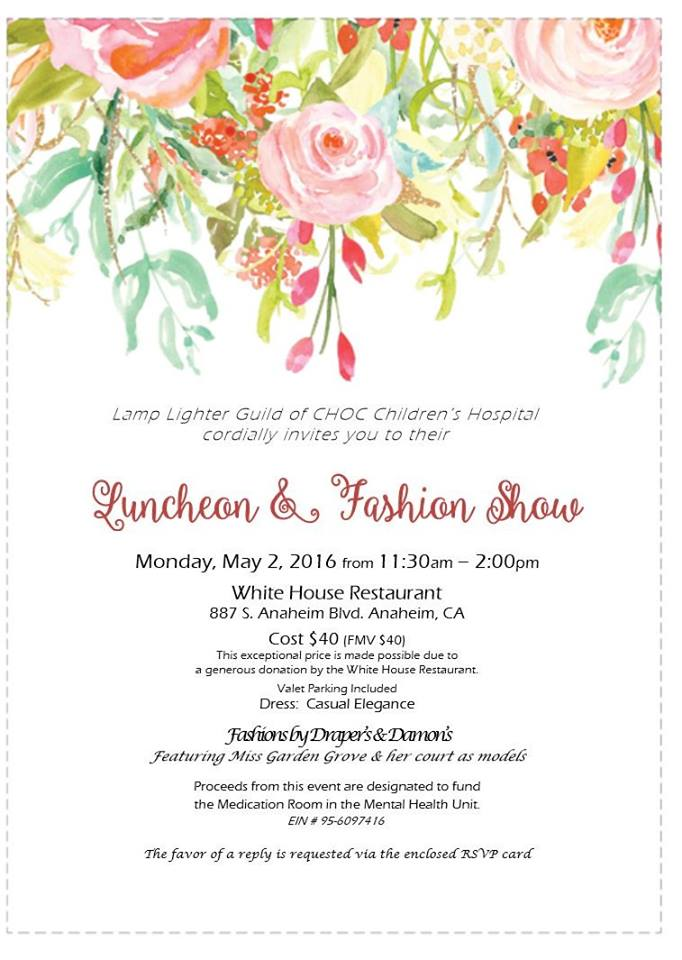 Photo of the Lamp Lighter Guild Luncheon and Fashion Show event flyer