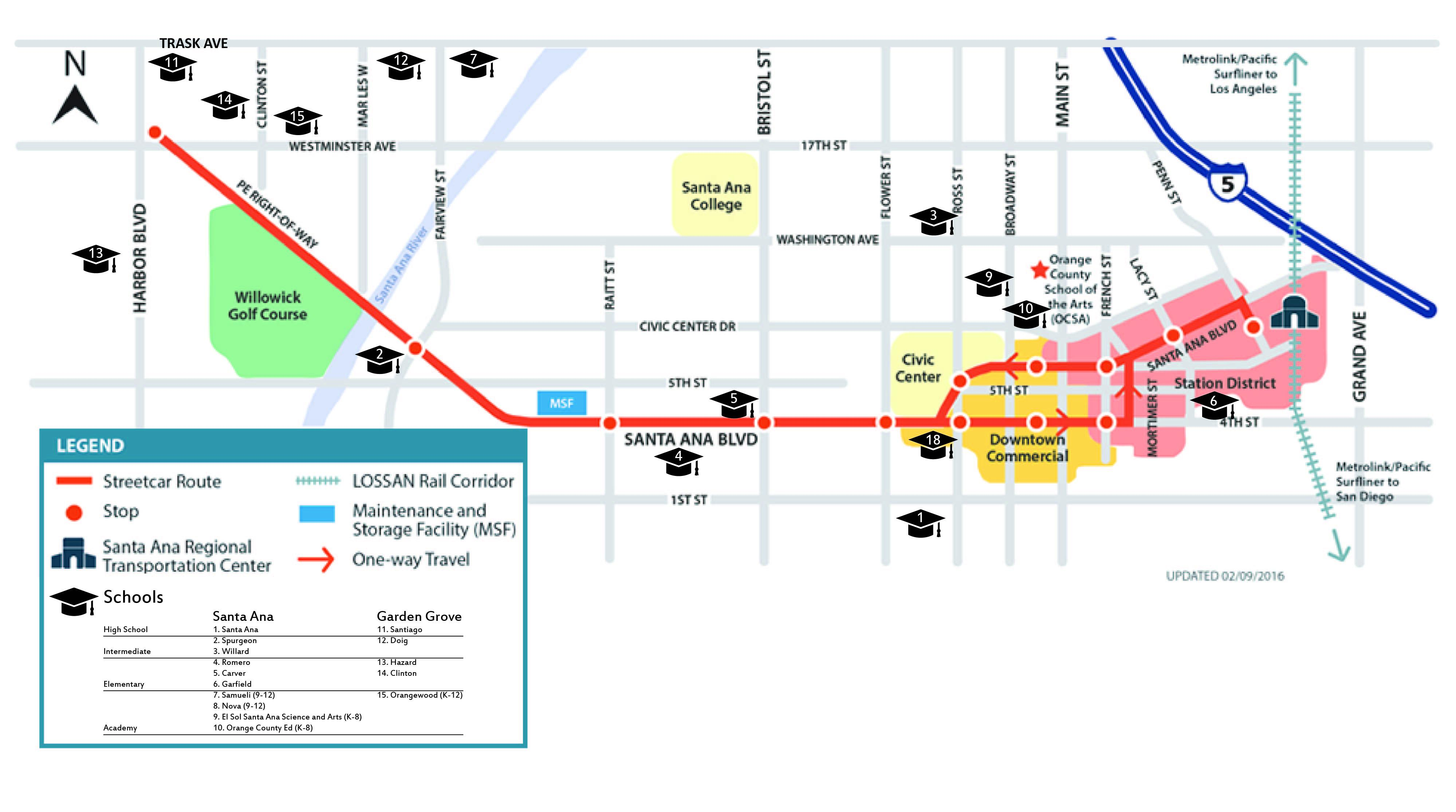 OC Street Car Route Map