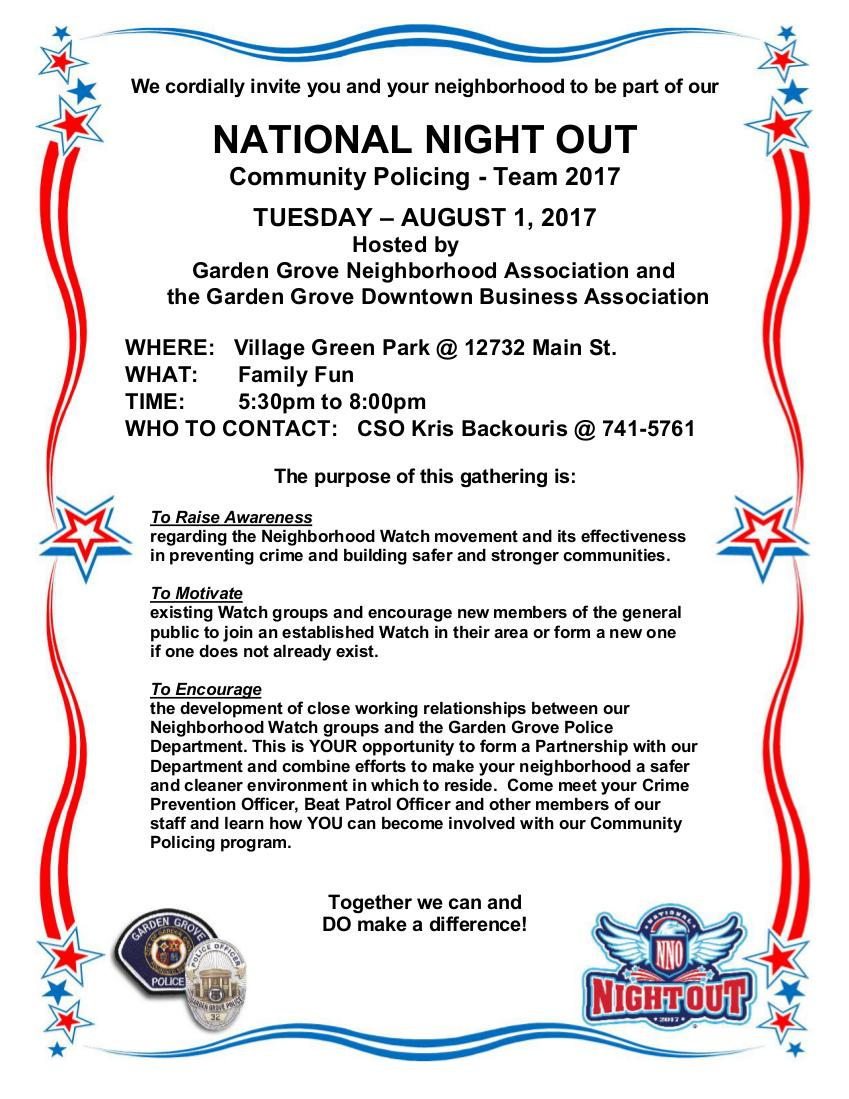 National Night Out At Village Green Park City Of Garden Grove