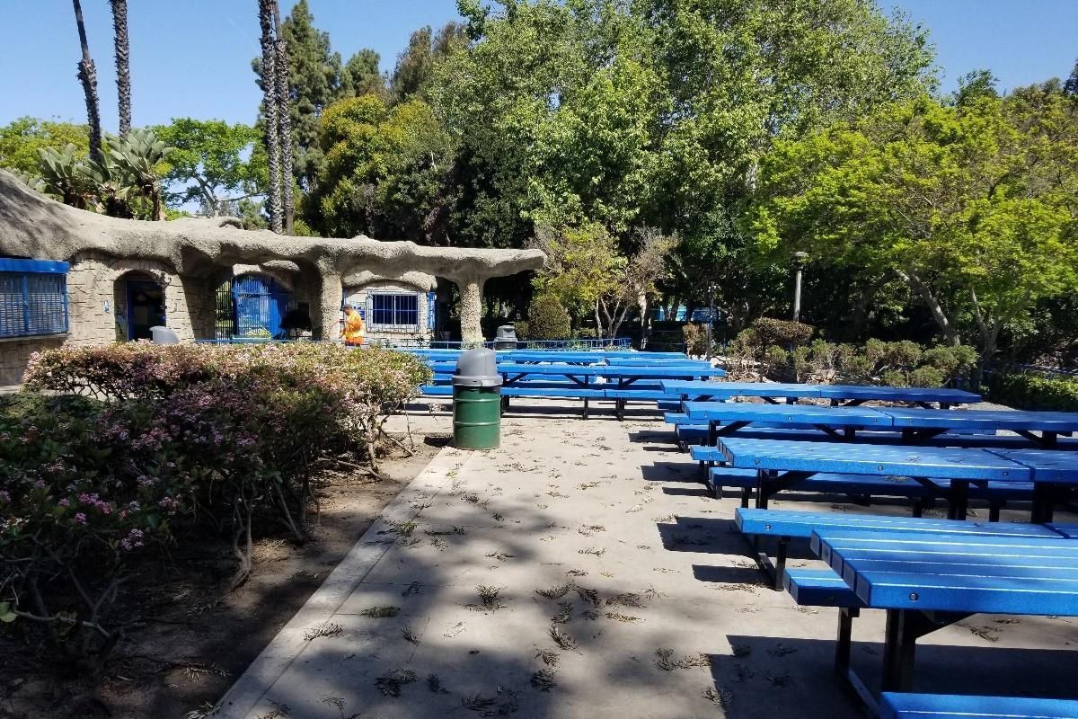 Photo of the picnic table area without the shaded structure.