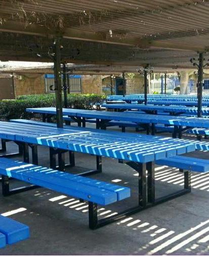 Photo of the picnic tables area at Atlantis Play Center.