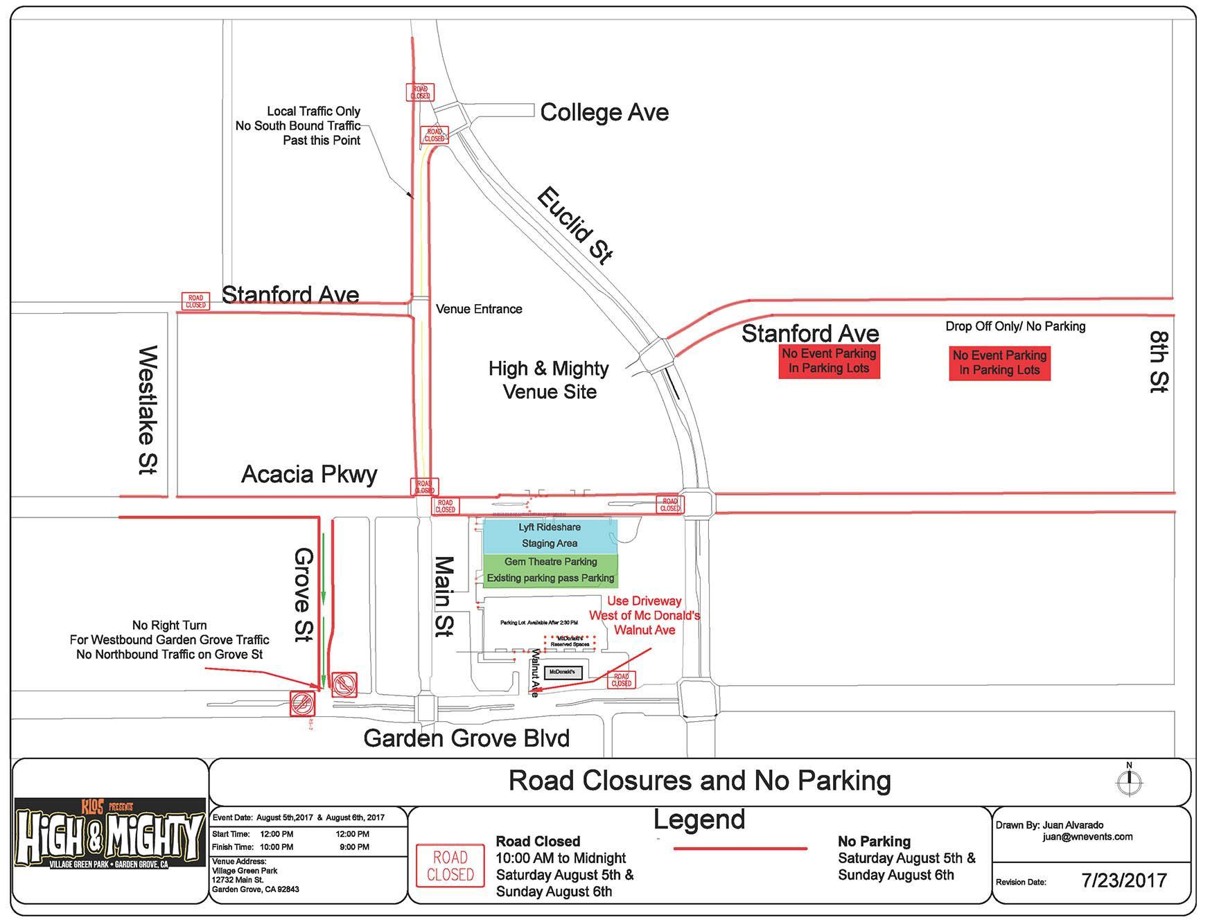 Road Closures and No Parking Map for the High and Mighty Music Festival