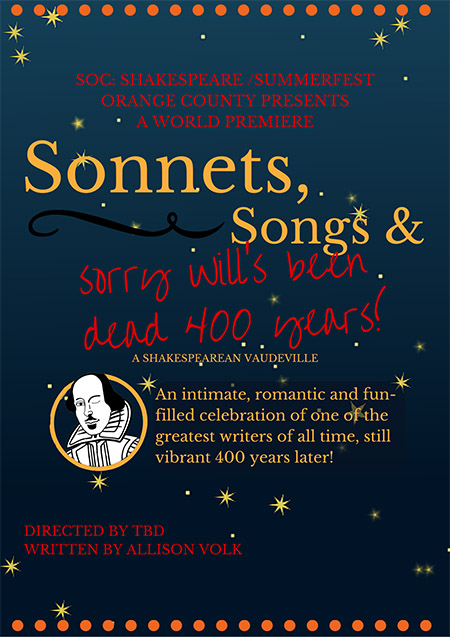 Photo of Sonnets, Songs, and Sorry Will's Been Dead for 400 Years flyer