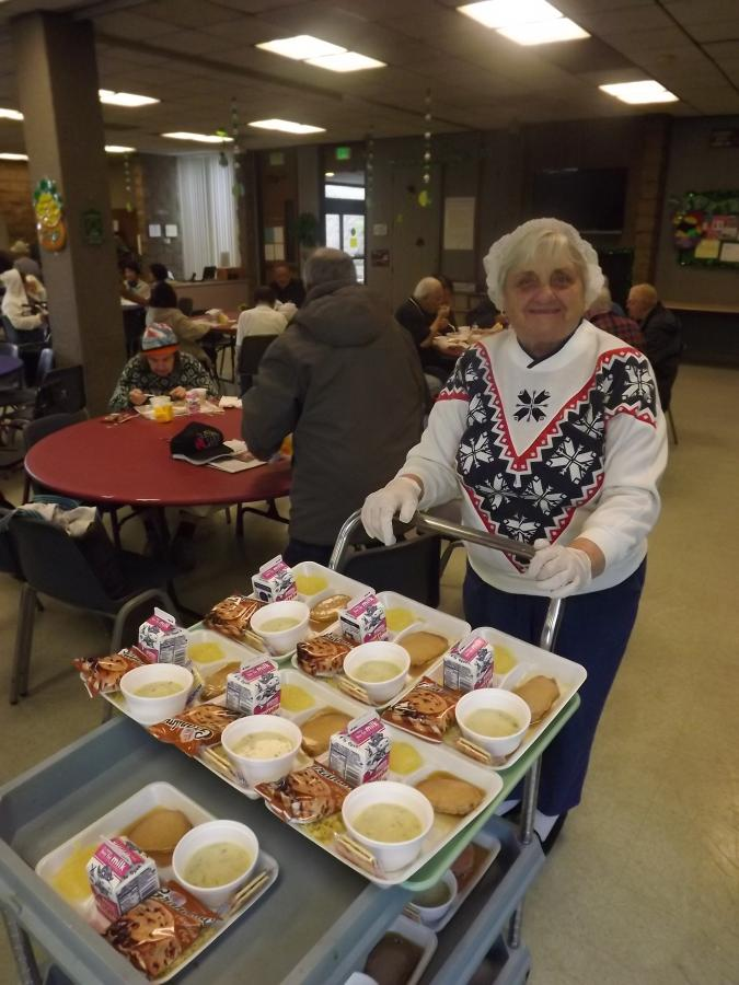 Photo of meals being served at the Senior Center