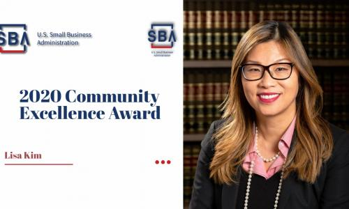 Lisa Kim receives Community Excellence Award.