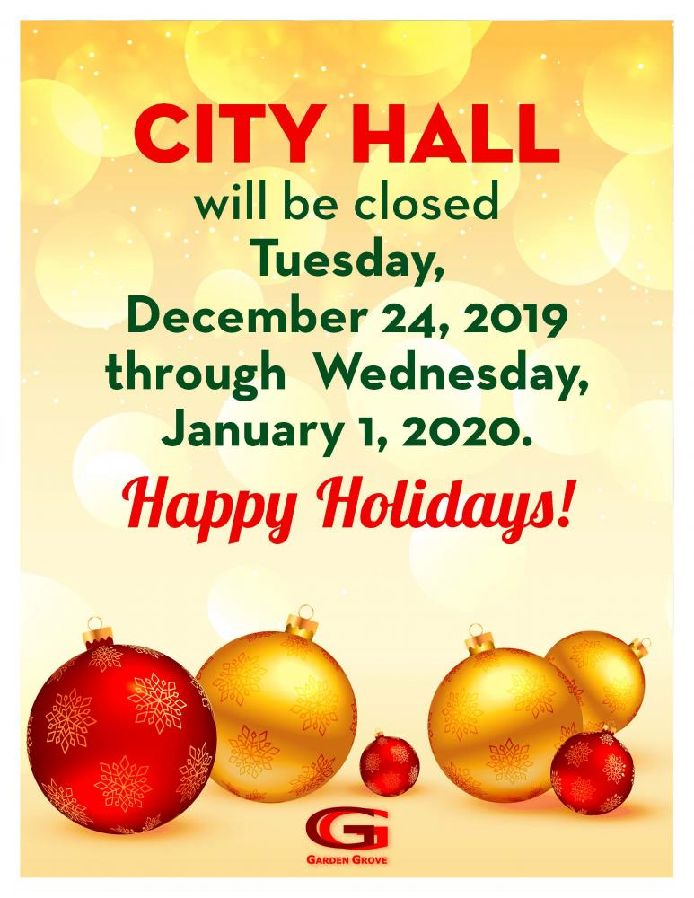Christmas Eve 2020 City Facilities Closed, No Street Sweeping Christmas and New