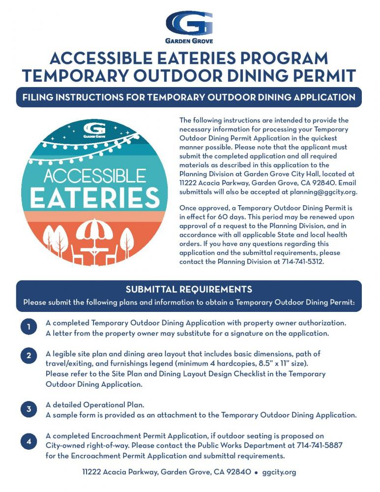 City Takes Proactive Steps To Assist Local Restaurants Recover By Issuing Temporary Outdoor Dining Permits City Of Garden Grove