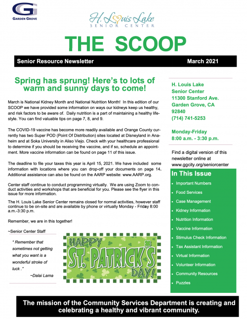 The Scoop: Senior Resource Newsletter March 2021