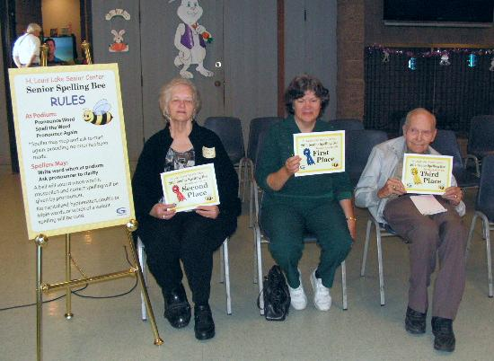 Image of seniors participating in the annual Spelling Bee competition.