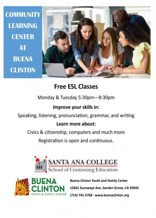 ESL Classes Available at Buena Clinton flyer.