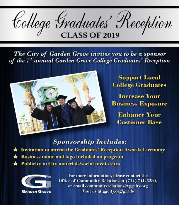 2019 Grads Reception Sponsor flyer front side.