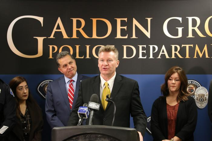 Photo of Garden Grove Mayor Steve Jones speaking at the Measure O Public Safety Plan press conference.