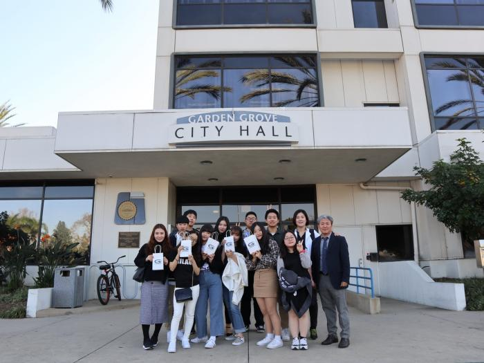Photo of the 2018 Exchange Students at Garden Grove City Hall.