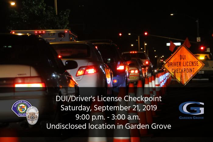 Image of a DUI/checkpoint in Garden Grove.