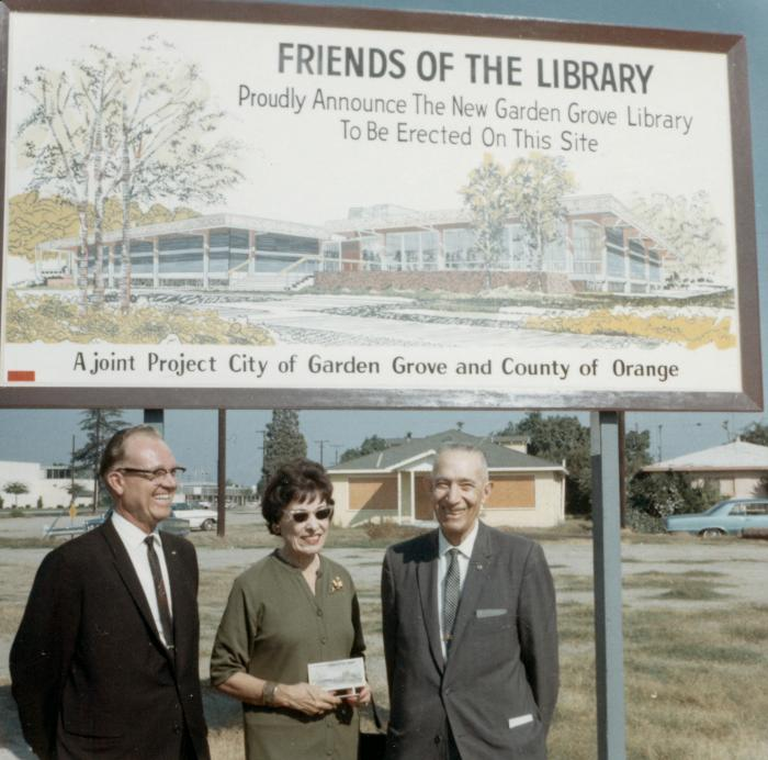 Garden Grove Library sign installation, October 1967