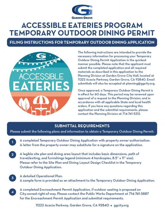 Filing Instructions for Temporary Outdoor Dining Application
