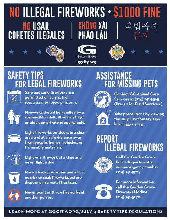 July 4 Safety Tips and Regulations flyer.