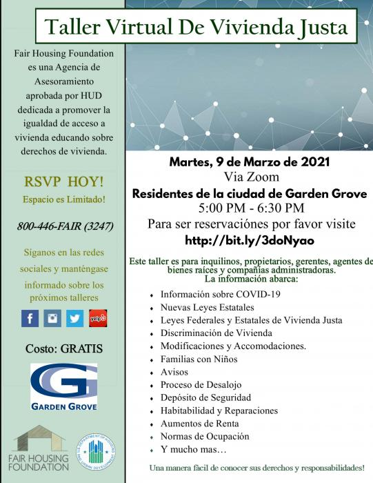 Virtual Fair Housing Workshop Flyer (Spanish)
