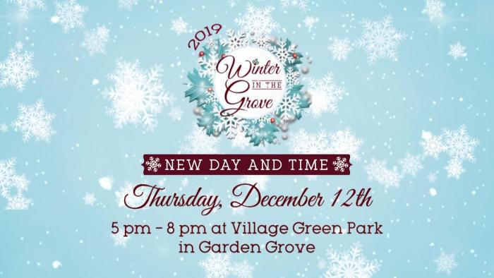Winter in the Grove 2019-New Day and Time