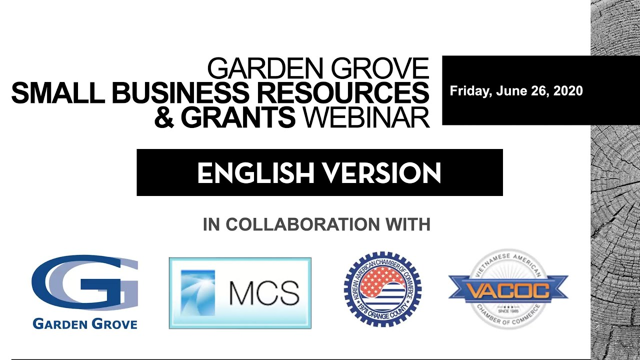 Garden Grove's Small Business Resources & Grants Webinar